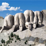 Bizzare Picture of The Back of Mount Rushmore