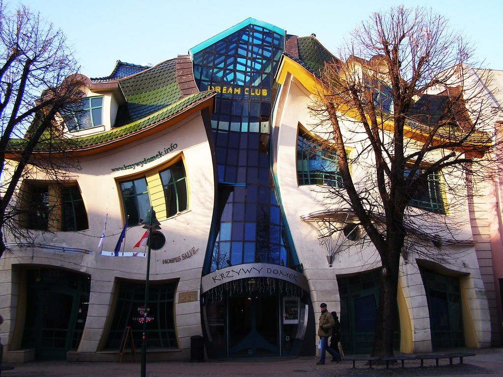 Unusual Crooked House at Sopot Poland