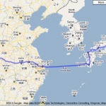 Travel from Japan to China using Google Map