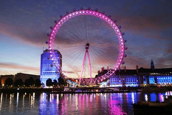 The London Eye lit up in pink to mark the first International Day of the Girl